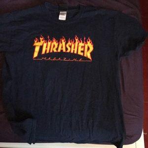 navy blue thrasher shirt